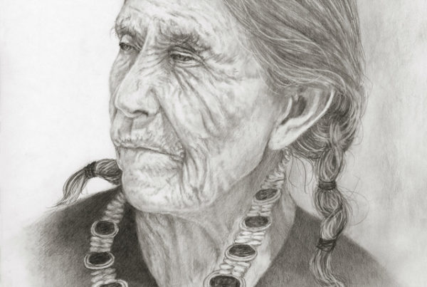 Pencil drawing of an old indian woman
