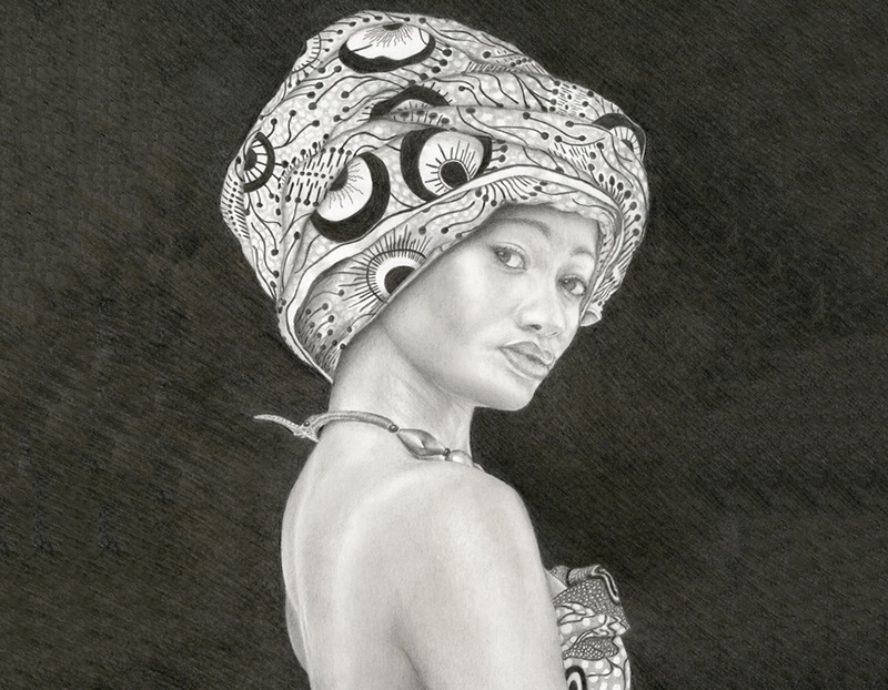 Pencil drawing of a native girl